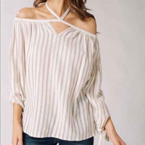 1626e1cb700449 NEW Striped Cold Shoulder Tie Halter Neck Blouse. Boutique. listicle